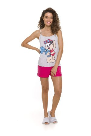 Pijama Short Doll Mônica  - Rosa e Cinza - Adulto