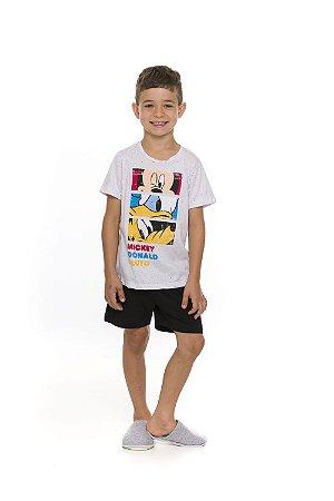 Pijama Mickey e Turma Disney  - Preto e Cinza Flamê - Infantil
