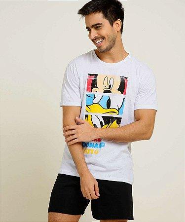 Pijama Mickey e Turma Disney - Preto e Cinza Flamê - Adulto