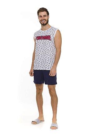 Pijama Homem Aranha Marvel - Azul Marinho e Branco - Adulto