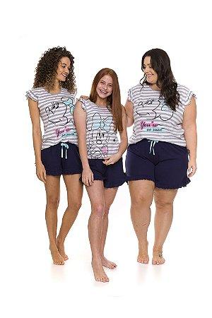Pijama Short Doll Minnie - Cinza e Branco - Coleção Mãe e Filha