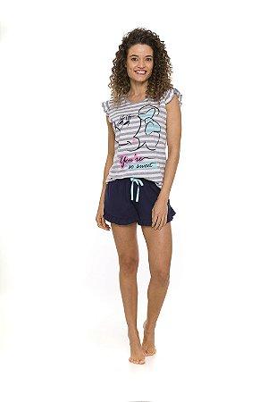 Pijama Short Doll Minnie Disney - Cinza e Branco - Adulto