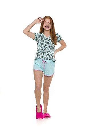 Pijama Short Doll Coala - Verde - Juvenil