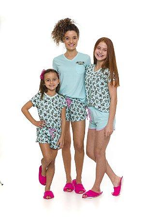 Pijama Short Doll Coala - Verde - Coleção Mãe e Filha