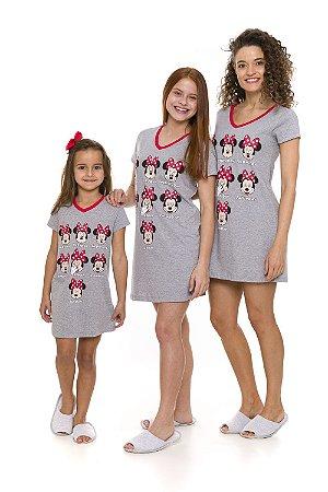 Camisola Minnie Disney Semana - Cinza e Vermelho - Coleção Mãe e Filha