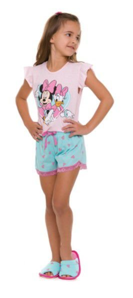 Pijama Short Doll Minnie e Margarida Disney - Rosa - Infantil