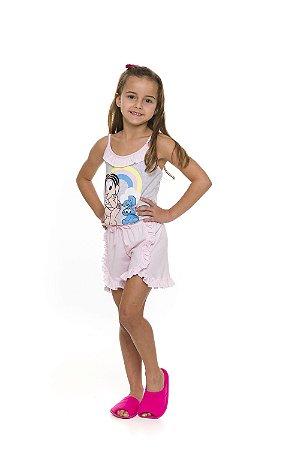 Pijama Short Doll Monica Arco Íris - Cinza e Rosa - Infantil