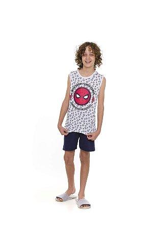 Pijama Homem Aranha Marvel - Azul Marinho e Branco - Juvenil