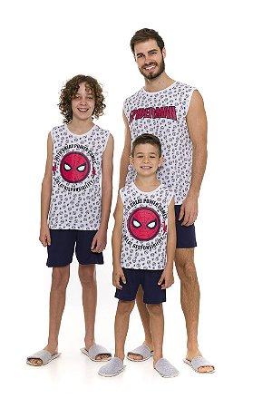 Pijama Homem Aranha Marvel - Azul e Branco - Coleção Pai e Filho