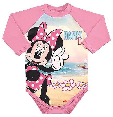 Body Manga Longa Bebê Minnie Proteção UV 50 Rosa - Marlan
