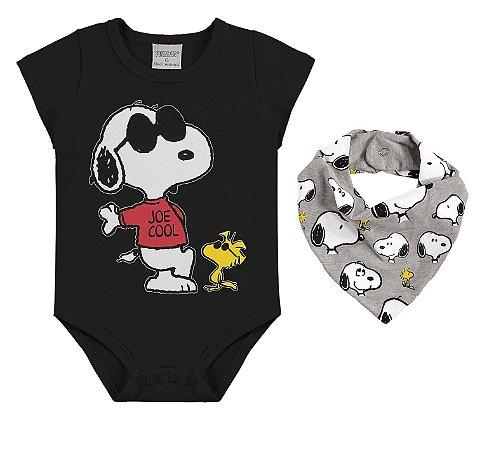 Body Snoopy com Babador - Preto e Cinza - Marlan