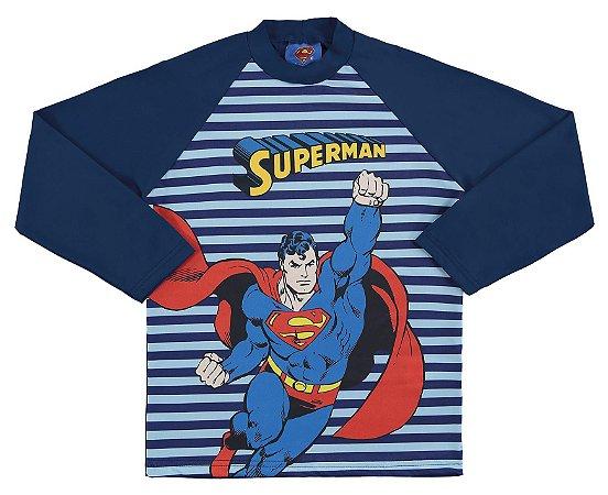 Camiseta Proteção UV Infantil Menino Superman Azul - Marlan