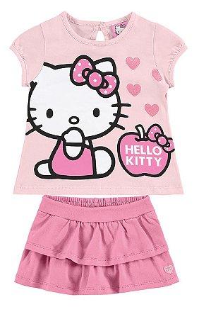Conjunto Blusa e Short Saia Hello Kitty - Rosa - Marlan