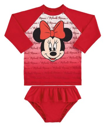 Conjunto Bebê Minnie Disney Proteção UV 50 FPS - Vermelho - Marlan