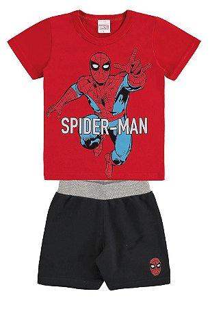 Conjunto Camiseta e Bermuda Homem Aranha - Vermelho e Preto - Marlan