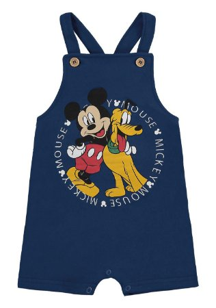 Jardineira Bebê Mickey e Pluto Disney - Azul Marinho - Marlan