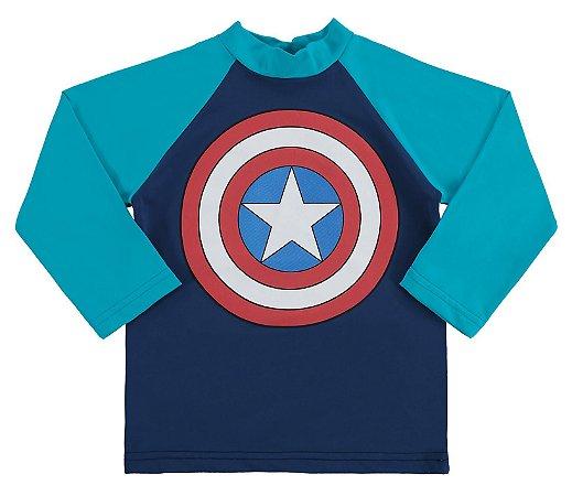 Camiseta Bebê Capitão América Proteção UV 50 FPS Azul - Marlan
