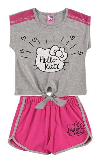 Conjunto Infantil Menina Hello Kitty Rosa e Cinza - Marlan