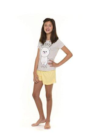 Pijama Short Doll Bichinhos - Cinza e Amarelo - Juvenil