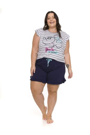 Pijama Short Doll Minnie Disney - Cinza e Azul - Plus Size