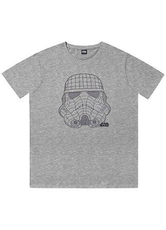 Camiseta Adulto Stormtrooper Star Wars Cinza Manga Curta - Fakini
