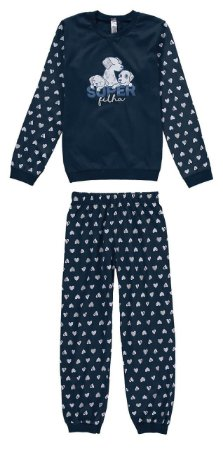 Pijama Super Filha - Azul Marinho - Malwee