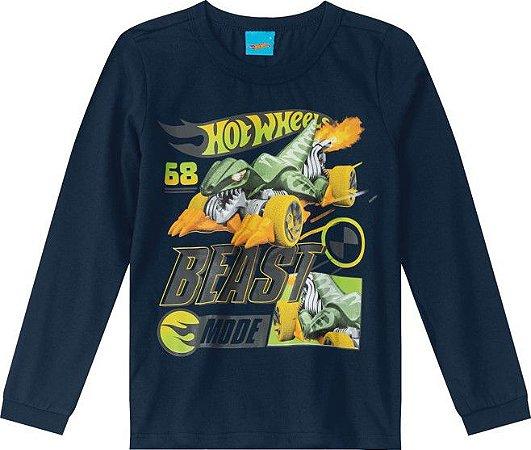 Camiseta Infantil Hot Wheels Azul Marinho - Malwee