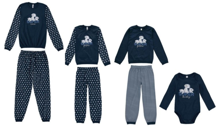 Pijama Super Mãe e Super Filhos - Coleção Família - Azul Marinho - Malwee