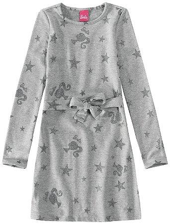 Vestido Barbie - Cinza Glitter - Malwee