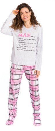 Pijama Adulto Mãe Cinza e Rosa Xadrez - Coleção Família