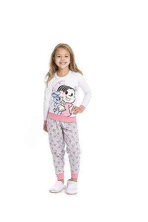 Pijama Mônica e Sansão - Turma da Mônica - Cinza e Salmão