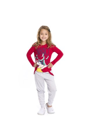 Pijama Magali - Turma da Mônica - Vermelho e Cinza