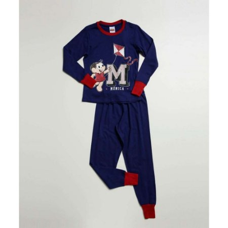 Pijama Mônica - Turma da Mônica - Azul Marinho e Vermelho