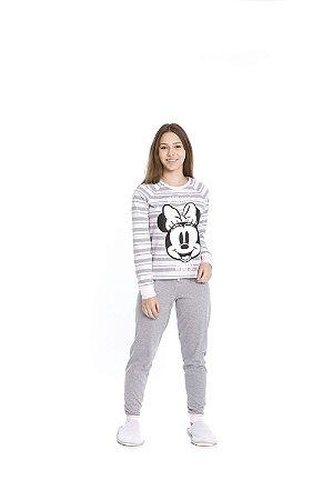 Pijama Minnie Disney - Cinza e Branco - Juvenil Feminino