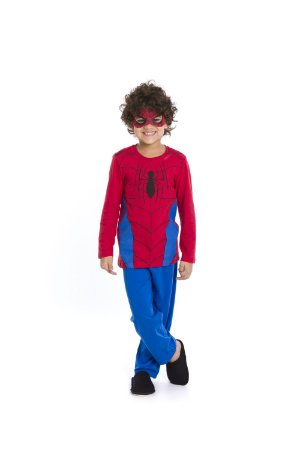 Pijama Homem Aranha com Máscara Marvel - Azul e Vermelho