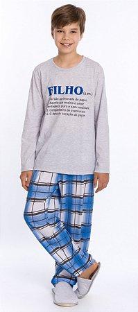 Pijama Juvenil Filho Cinza e Azul Xadrez - Coleção Família