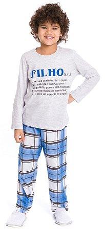 Pijama Infantil Filho Cinza e Azul Xadrez - Coleção Família
