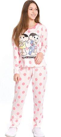 Pijama Juvenil Mônica e Magali Salmão - Coleção Mãe e Filha
