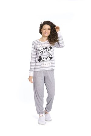 Pijama Mickey e Minnie Disney - Cinza e  Branco - Adulto