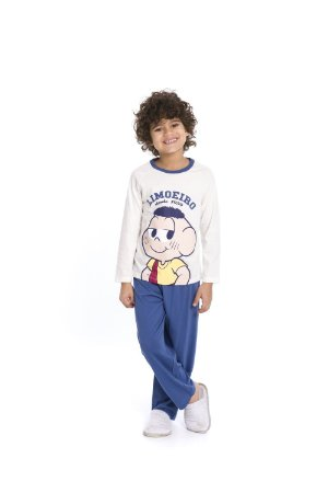 Pijama Cascão - Turma da Mônica - Azul e Off-White