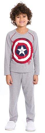 Pijama Infantil Menino Capitão América Cinza Estilo Urban - Coleção Família
