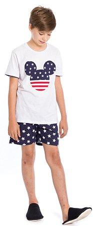 Pijama Juvenil Menino Mickey Branco e Azul Marinho -Coleção Família