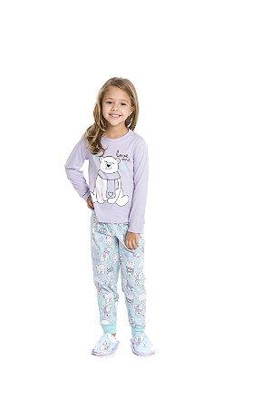 Pijama Bichinhos Ursinho - Lilás e Verde Claro