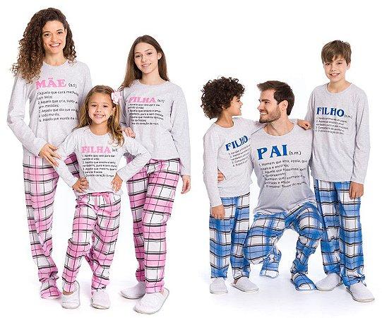Pijama Coleção Família - Cinza Xadrez