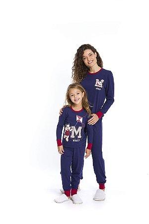 Pijama Turma da Mônica - Azul Marinho e Vermelho - Coleção Mãe e Filha