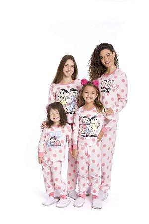 Pijama Mônica e Magali - Salmão - Coleção Mãe e Filha