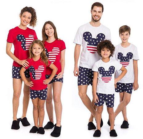Pijama Mickey Disney- Coleção Família - Branco Azul Marinho e Vermelho