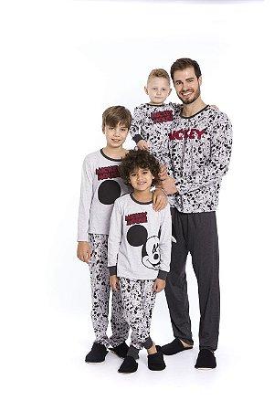 Pijama Mickey Disney - Cinza Estampado - Coleção Pai e Filho
