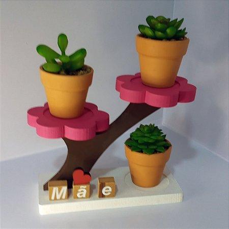 Suporte para Suculentas  Presente Dia das Mães Trio Flor