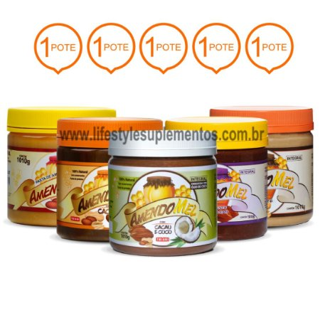 Kit 5 Potes AmendoMel Todos Sabores 1Kg - Thiani Alimentos